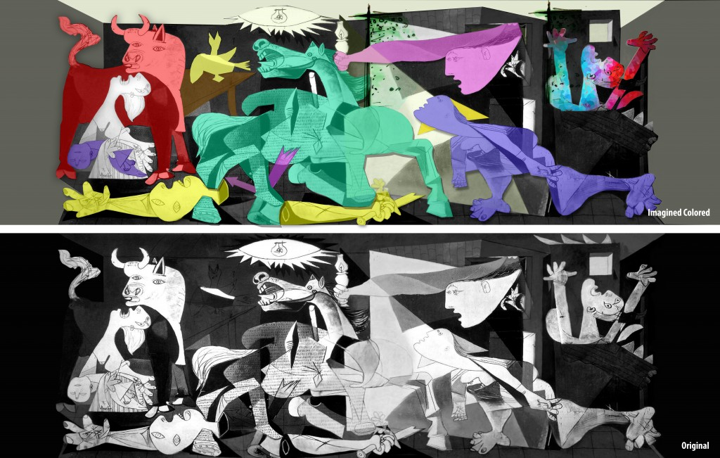 Guernica, Version colorée et version originale en noir & blanc