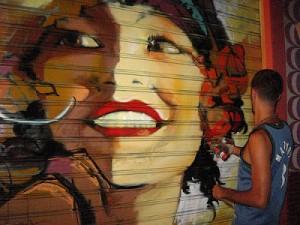 El Nino entrain de peindre dans la rue Molinos, Grenade