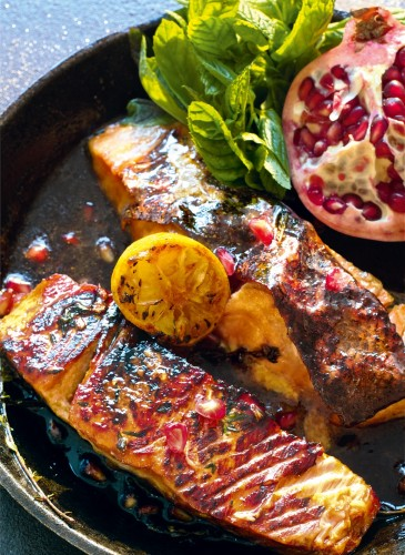 salmon and pomegranate