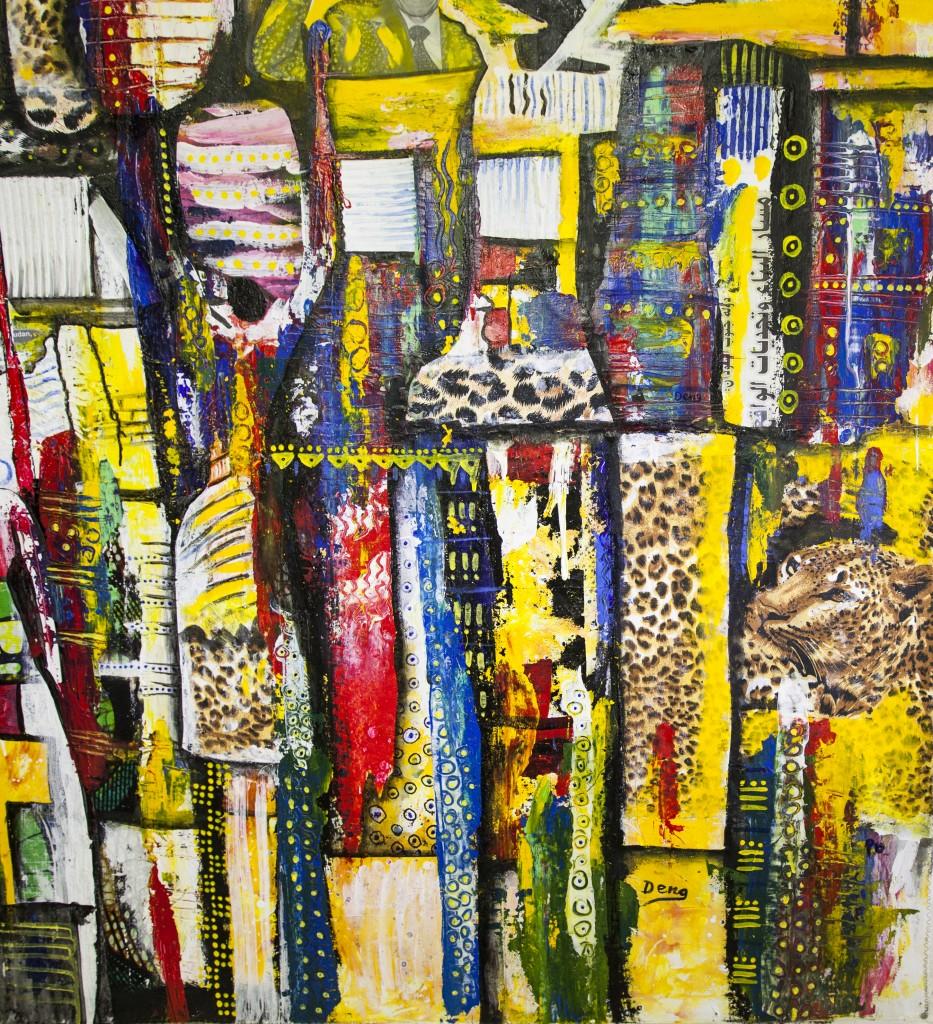Deng Majid Chol, Soudan du Sud, Happy People, 2015 Acrylique sur toile, 120 x 120 cm ©Cadre en seine