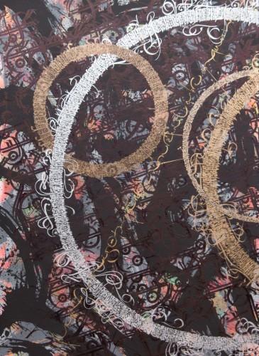 TAREK BENAOUM - L'arbre impassible (Dyptique) 1, 2015, Aérosol acrylique et encre sur toile, 210x140cm