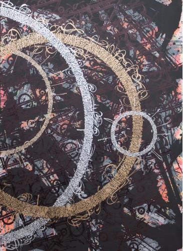 TAREK BENAOUM - L'arbre impassible (Dyptique) 2, 2015, Aérosol acrylique et encre sur toile, 210x140cm