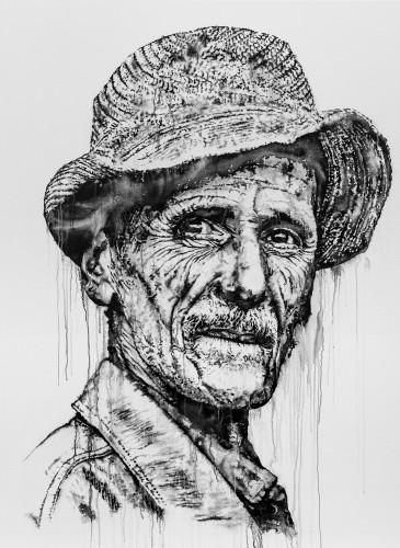 Abdessadek_2015_Acrylic, India ink, and spray paint on canvas_190x150cm