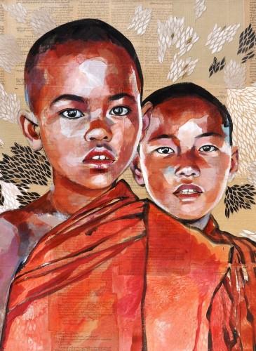 Birmanie - Duo de novices Taw Yu Wa