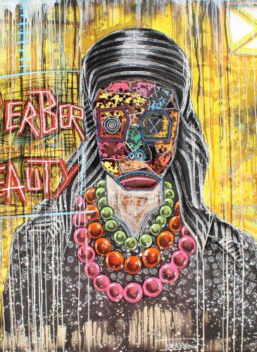 Berber beauty 200x200 acrylic mixt media cofee 2016 turay Mederic