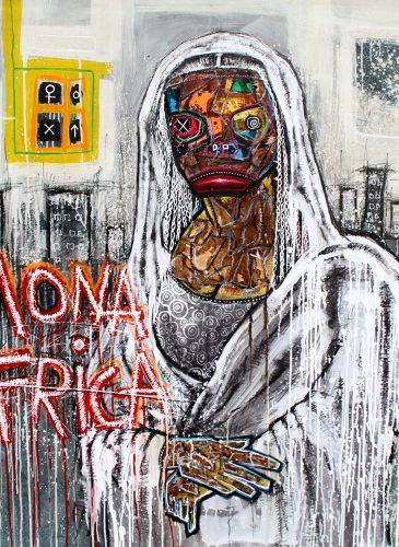 Mona Africa 150x150 acrylic mixt media 2015 turay mederic