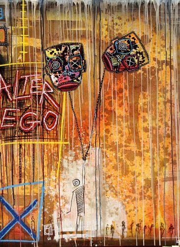 alter ego 150x150 acrylic mixt media cofee 2016 turay mederic