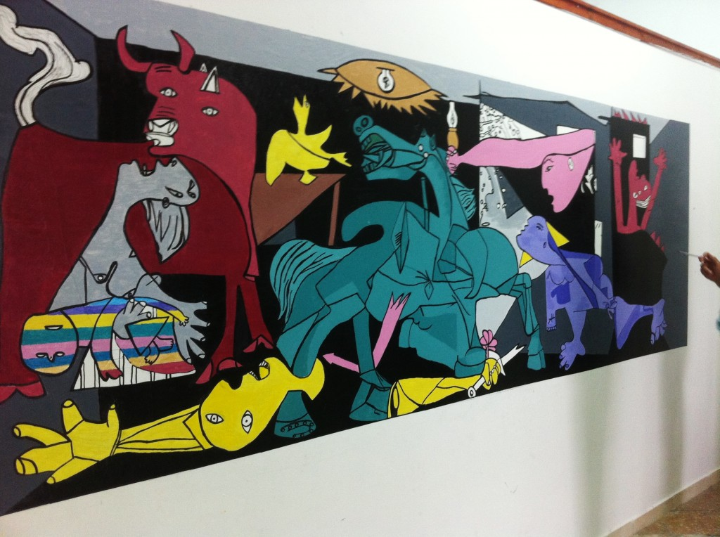 Coloring Picasso's Guernica: Carefully Chaotic 2014 / Acrylic on Wall