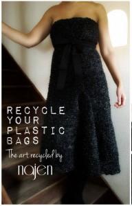 """Cette robe a été réalisée en tricotant 23 sacs poubelles noirs. Elle a été vendue à New York, aux enchères, lors de la soirée de cocktail """"Energy vision leadership awards"""" à West village. Les bénéfices de cette vente ont été entièrement reversés à Tunisie recyclage, association tunisienne militant en faveur de l'écologie."""