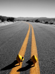 The yellow trip a self portrait -- Mojave desert © Malika Sqalli
