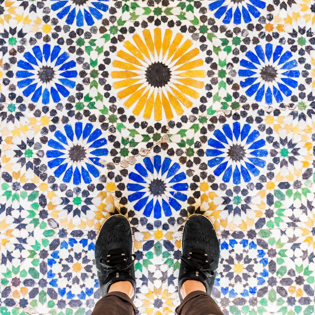 Mosaïque au Bahia Palace à Marrakech. Photo par ParisianFloors