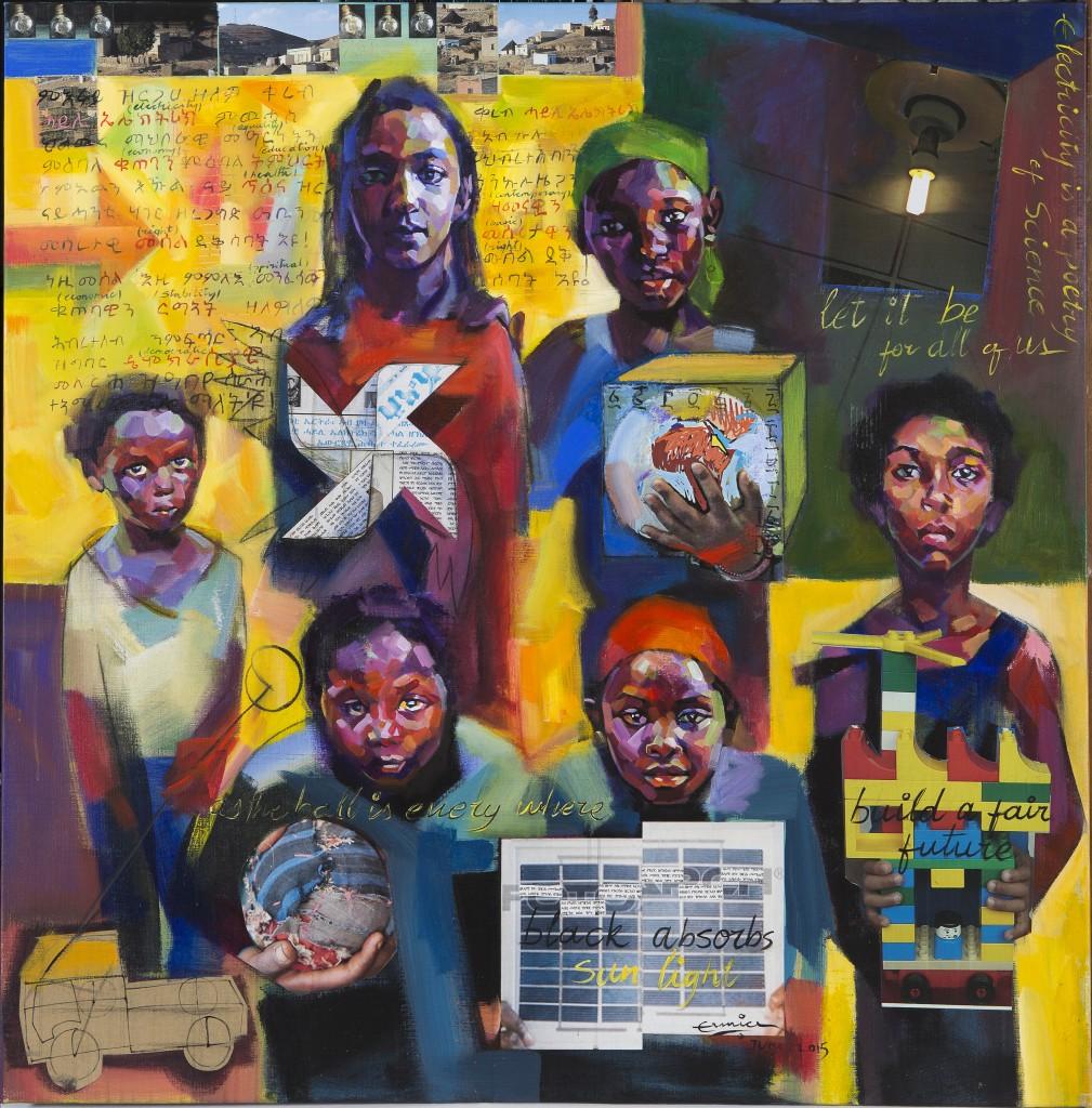 Ermias Ekube, Erythrée, Electricity is a Poetry of Science (L'électricité est une poésie de la science), 2015, Huile sur toile de lin, 120 x 120 cm ©Mathieu Lombard