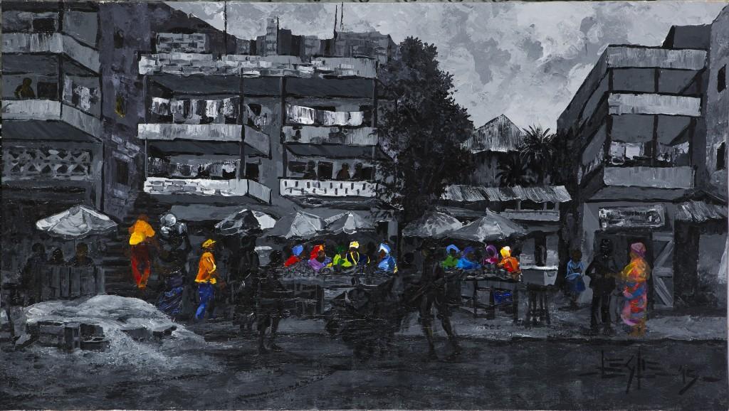 Leslie Lumeh, Libéria, The Light Within, 2015, Huile sur toile, 69 x 123 cm ©Mathieu Lombard