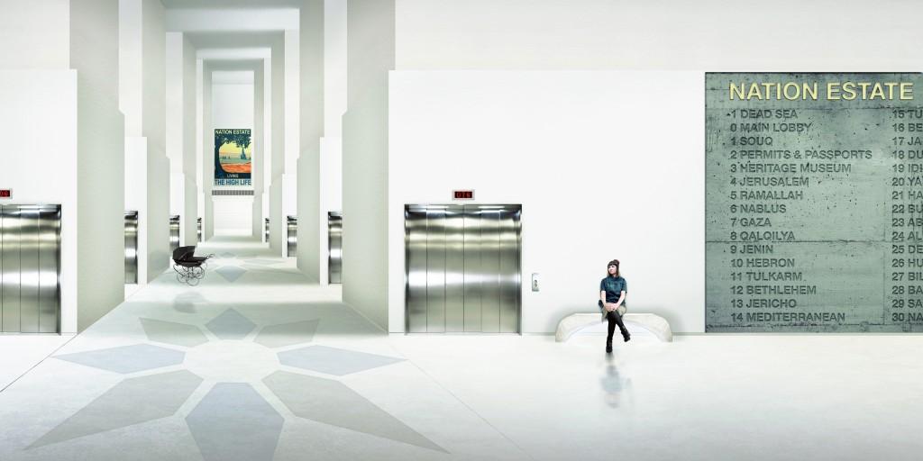 03. Nation Estate – Main Lobby, C-print, 75x150cm, Larissa Sansour, 2012.