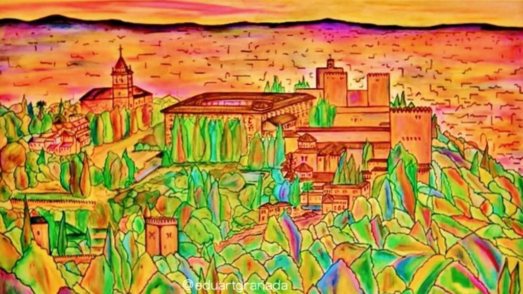 Vue de l'Alhambra depuis la Silla del Moro