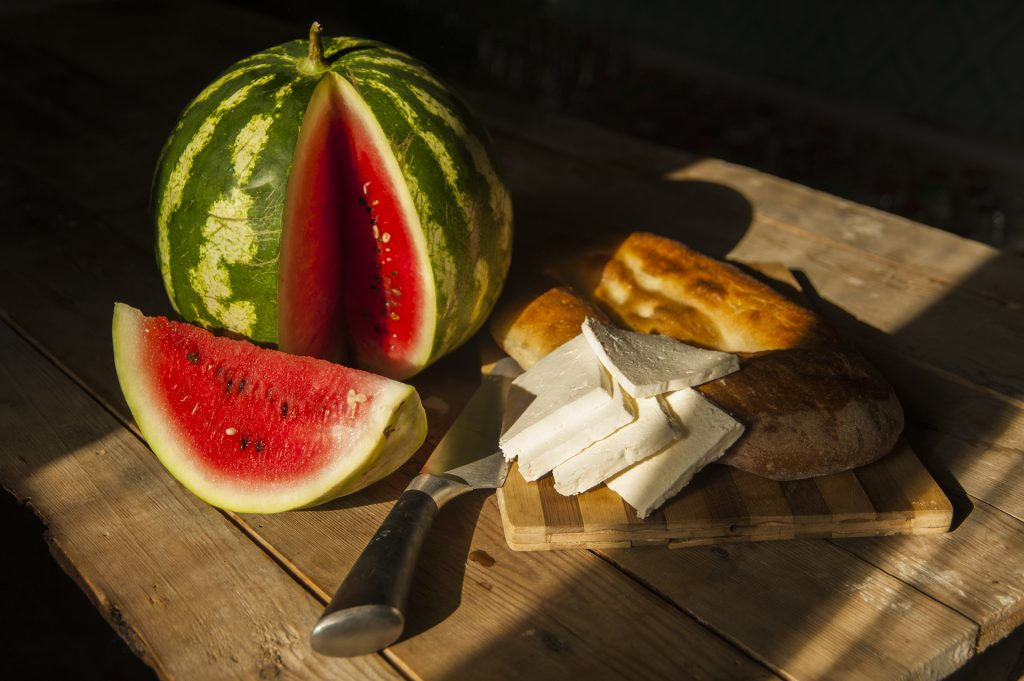 summer fast food – watermelon, cheese and tandir bread © Eldar Fazraliyev