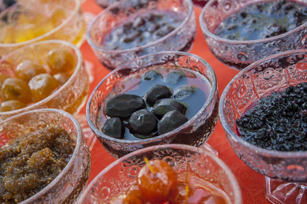 different fruits jams (confiture) mulberry, blackberry, walnut, apple, fig, strawberry, watermelon © Eldar Fazraliyev