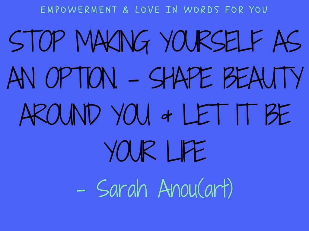 Stop making yourself as an option
